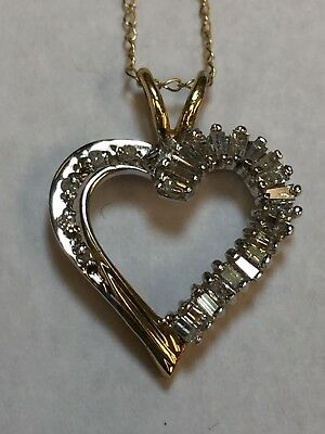 """Heart Pendant - 10K Yellow Gold With .30 Ctw Diamonds - Includes 18"""" Chain!"""