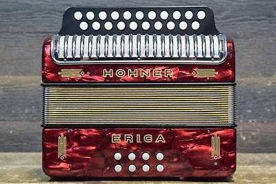 Hohner Erica 2-Row 21-Button 8-Bass G/C - HT Red Diatonic Accordion - #2150595