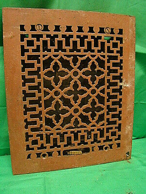 ANTIQUE LATE 1800'S CAST IRON HEATING GRATE ORNATE DESIGN 11.75 x 9.75 JH