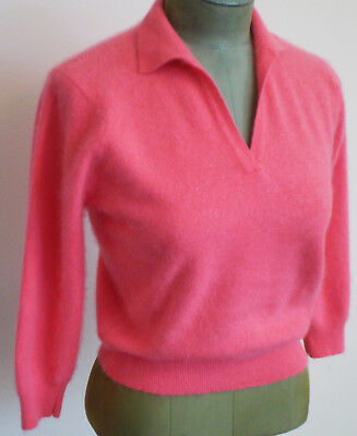 Vintage 60s PANDORA Sexy Sweater Girl Fine French ANGORA Hot PINK SWEATER S-M