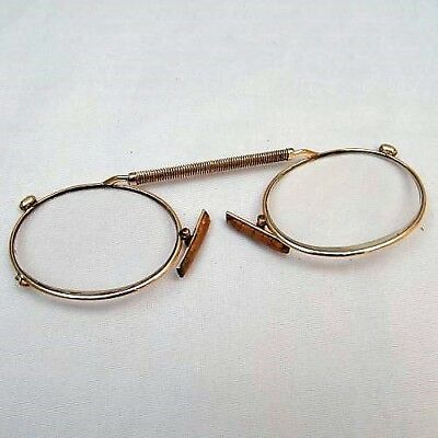 ANTIQUE 10ct EDWARDIAN GOLD FILLED PRINCE NEZ / READING SPECTACLES CASED 150+.