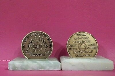 Recovery coins AA 13 Year Bronze Medallion tokens sobriety affirmation birthday
