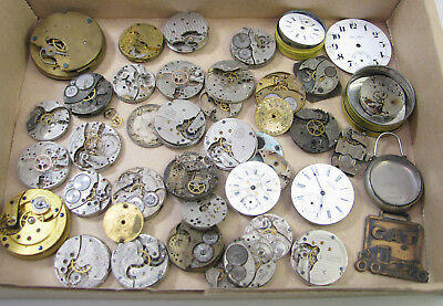 Large Lot Of Antique Pocket Watch Movement Parts Repair