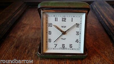 1930's Vintage Art Deco Smiths 8 Day Travel Alarm Clock 7 Jewels Green Case