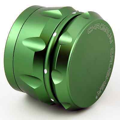 Chromium Crusher Drum 2.5 Inch 4 Piece Spice Herb Grinder - Green