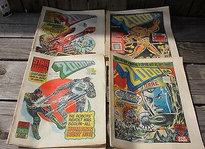early paper copies of 2000 AD prog 7 , 9 ,10  and 73 from 1977 and 1978