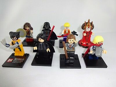 8 x Minifigures Star Wars ,Wonder Woman, Potter für Lego , Mega Blocks etc..