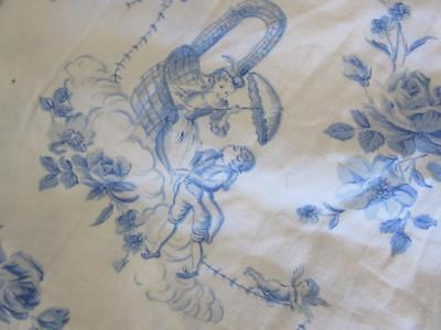 A Beautiful Vintage French Blue And White Toile De Jouy Cotton Bolster Case