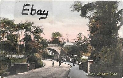 Early (1908) colour printed post card of London Road, Dorking, Surrey