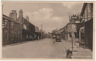 Printed  Photo Postcard West Street, Alford, Lincolnshire Old Shell Petrol Pump