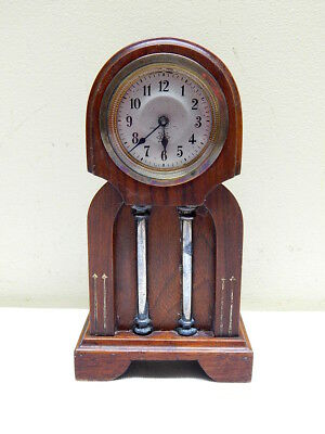 "Lovely Antique c1900 Small Wood Jugendstil Art Nouveau ""Junghans"" Clock"