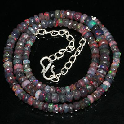 48 Crt Natural Ethiopian Welo Fire Opal Rondelle Black Faceted Beads Necklace 50