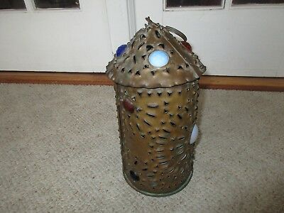 Antique Punched Tin Glass Jeweled Hanging Candle Lantern Lamp Bradley Hubbard