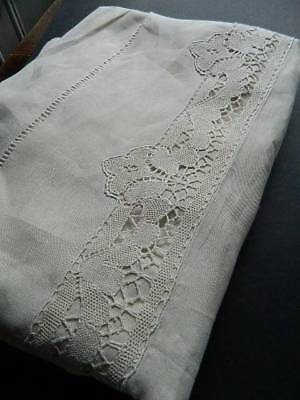 "Fabulous huge antique UNUSED French pure linen sheet - bobbin lace inserts 98""W"