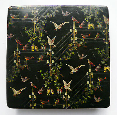 Beautiful 19th century lacquer box hand painted birds on telegraph lines- Unique