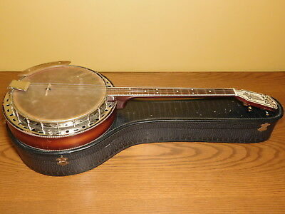 Antique SS Stewart Sunburst 4-Sting Banjo with Enameled Headstock S S Stewart