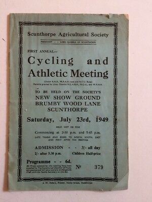 Vintage 1949 Scunthorpe Agricultural Society 1st Cycling & Athletic Meet program