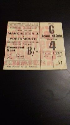 Manchester United - Portsmouth  League Cup 3Rd Round 1970-71 Ticket