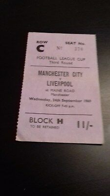 Manchester City  - Liverpool  League Cup 3Rd  Round 1969-70 Ticket
