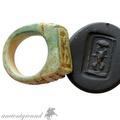 Intact Vintage Egyptian Glazed Seal Ring