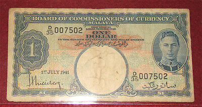 1941 (July 1st) Malaya One (1) Dollar