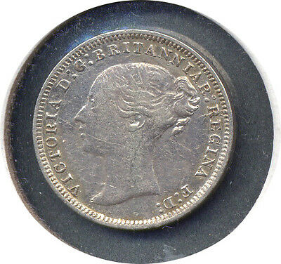 1875 Great Britain Three 3 Pence - CH VF