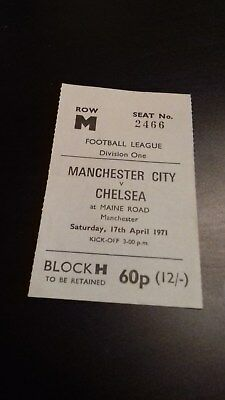 Manchester City - Chelsea Lge Division 1  1970-71 Ticket
