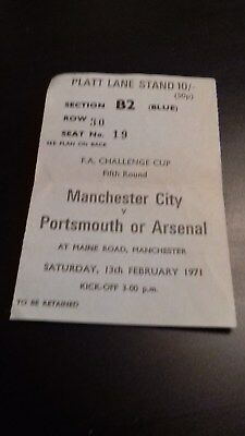 Manchester City - Portsmouth Or Arsenal Fac 5Th Rd 1970-71 Ticket