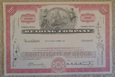Reading Railroad Company Stock Certificate Red 1960s