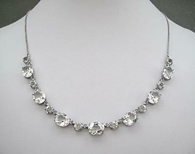 Edwardian/Deco Sparkling Clear Open Backed Crystal Drop Necklace