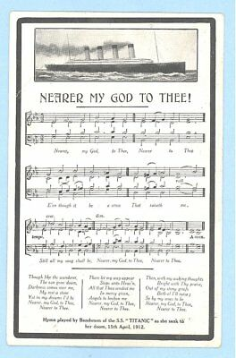 Original White Star Line R.M.S. TITANIC NEARER MY GOD TO THEE Song Postcard