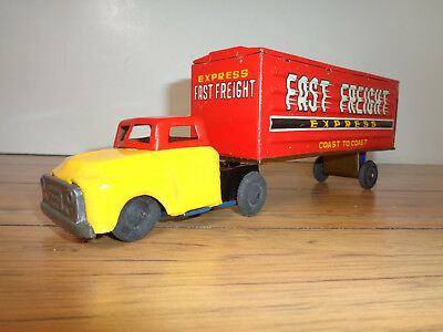 Fast Freight Express Tin Friction Tractor / Trailer - Japan