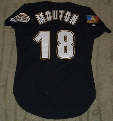 HOUSTON ASTROS JAMES MOUTON 1994 GAME WORN USED JERSEY 125th ANNIVERSARY PATCH