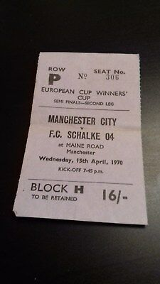 Manchester City - Fc Schalke 04   Ecwc Semi Final   1969-70  Ticket