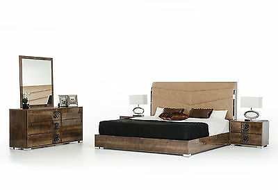 PESARO 5 piece Glossy Brown Bedroom Set w/ Queen Size Faux Leather Headboard Bed