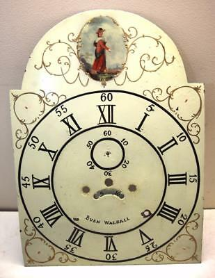 Antique Longcase Clock Dial Hand Painted Grandfather Face Durn Walsall Dial