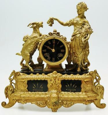 French Slate & Gilt Goat & Lady Figural Mantel Clock 8 Day Striking Mantle Clock