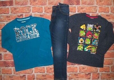 8 9 Years Angry Birds Long Sleeve Tops Skinny Jeans Boys Trendy Clothes Bundle