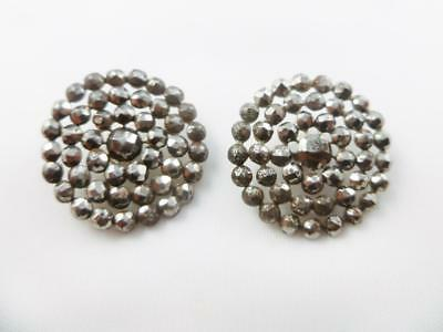 """Pair of Antique Georgian Victorian Round 2 1/2"""" Cut Steel Buttons Early 1800s"""