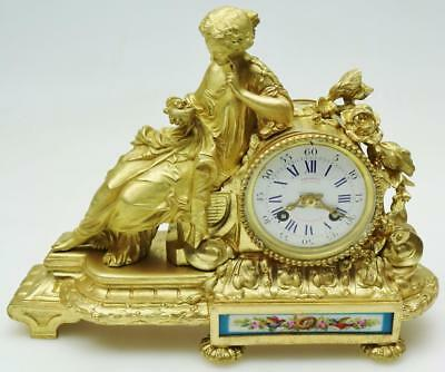 Classical French Ormolu & Sevres Porcelain Mantel Clock Reclining Lady Figure