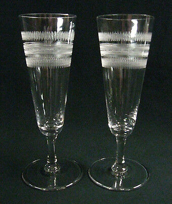"Pair 1920s Needle Etched Blown Glass Champagne Flutes, 6.5"" Tall, Exc. Cond!"