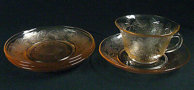 """Circa 1930 """"Dogwood"""" Pink Depression Glass 1 Thin Cup & 4 Saucers, Exc. Cond!"""
