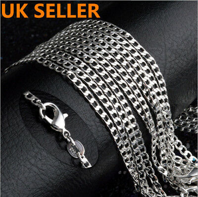 "UK STOCK Solid 925Sterling Silver Curb Chain Necklace 16"" 18"" 20"" 22"" 24"" inch"