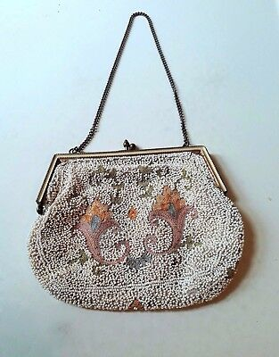 Vintage beaded and embroidered clasped purse evening bag