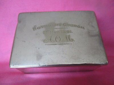 Antique Victorian Silver Plated Box, Rothbury Church AOM 1891 Northumberland
