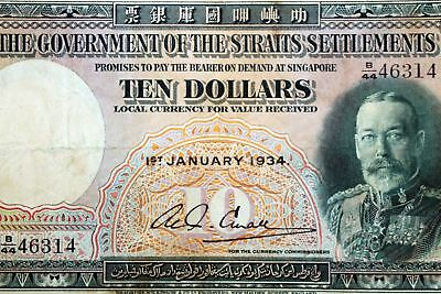 Rare 1934 Government of the Straits Settlements $10 Bank Note Very Fine NUM3287