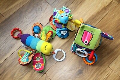 Fantastic Bundle Of Lamaze Soft Toys/rattles Cube Butterfly & Bee All In Vgs