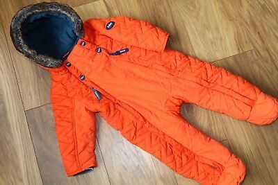 Fantastic Ted Baker Vgc Quilted Bright Orange Pram Suit Snow Suit All In One