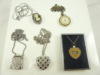 Mixed Lot of Vintage Necklace Pendant Watches Hearts Purse Cameo Parts Repair