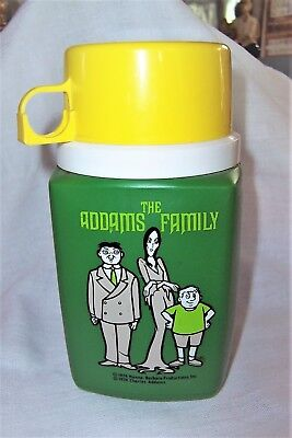 Vintage ADDAMS FAMILY Animated Series THERMOS, Hanna Barbara 1974, Nice Cond.